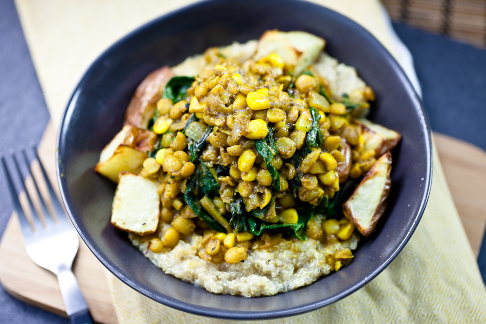 Curried Lentils, Corn, & Chard with Roasted Potatoes