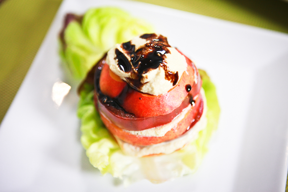 "Nectarine Tomato Salad with Roasted Garlic Cashew Ricotta and ""Honey"" Balsamic Syrup"