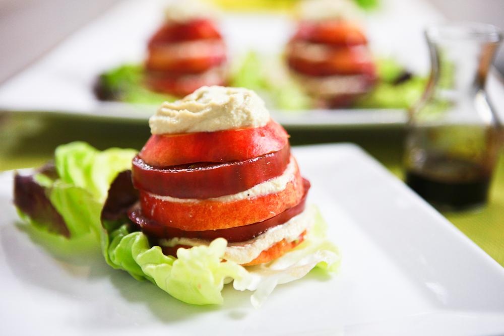 Tomato Nectarine Salad with Roasted Garlic Cashew Ricotta