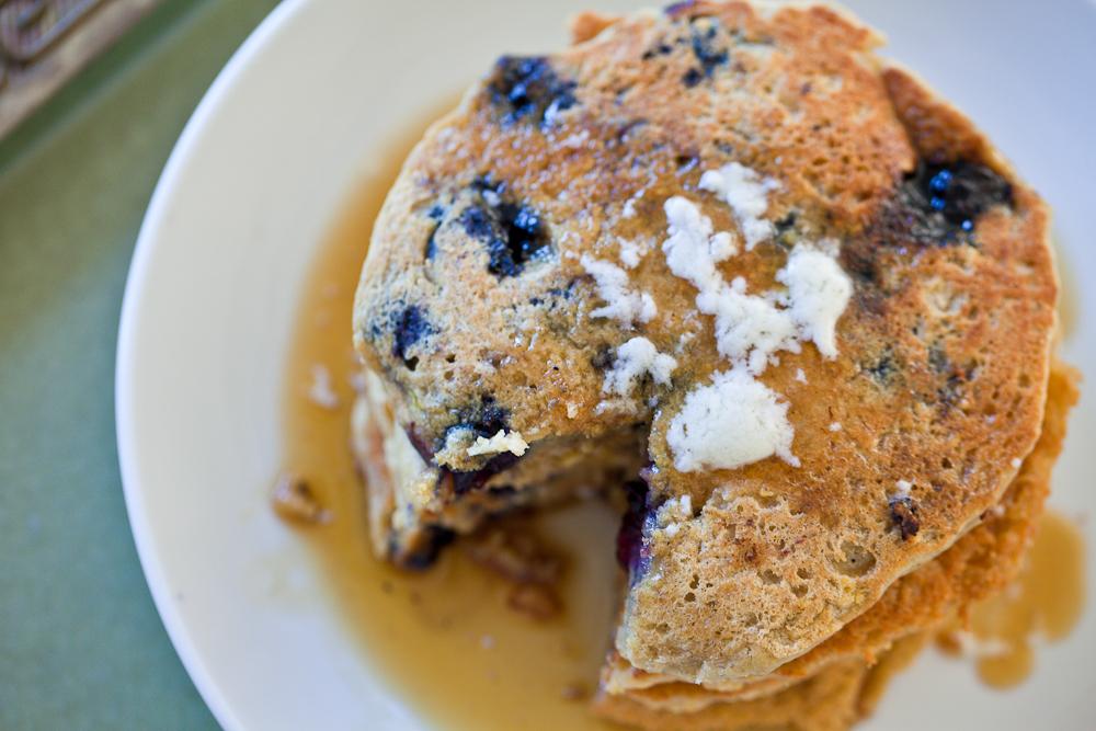 Lemon Blueberry Oatmeal Pancakes