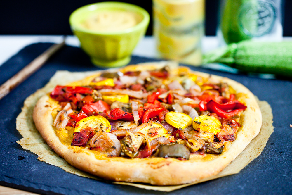 Roasted Ratatouille Pizza with Chickpea Cheese Sauce