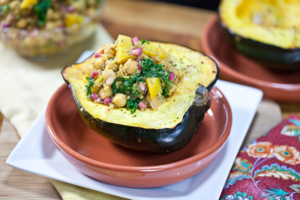 Pomegranate & Chickpea Quinoa Stuffed Squash