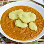 "Curried Acorn Carrot Soup with Avocado Naan ""Croutons"""