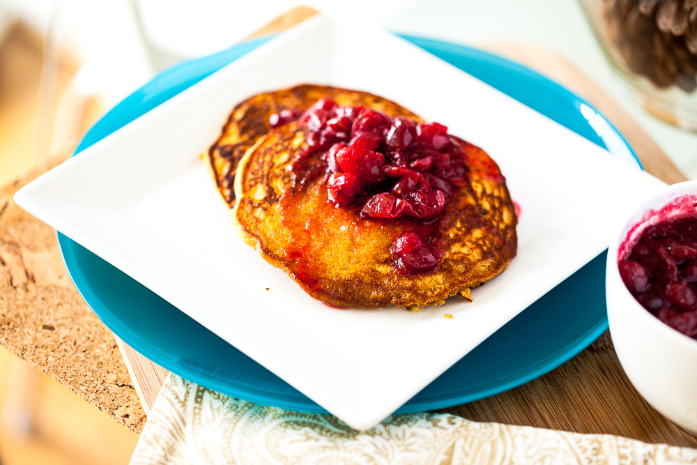 Persimmon Cornmeal Pancakes with Maple Cranberry Sauce