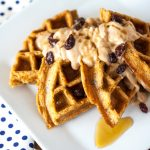 Carrot Cake Waffles with Cinnamon Maple Cream Cheese Spread
