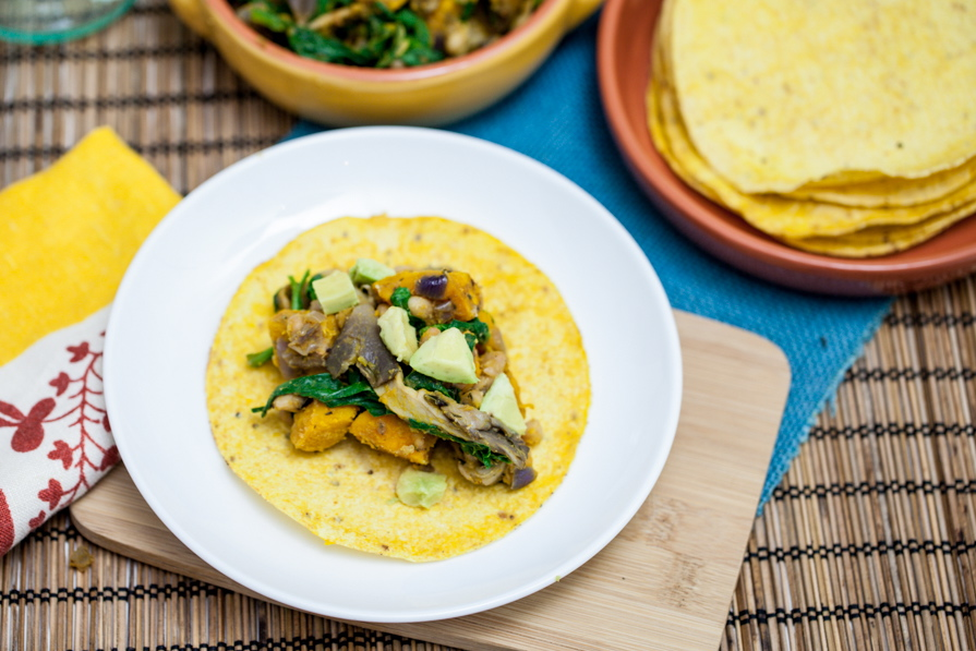 Chanterelle, White Bean & Cheesy Roasted Kabocha Tacos