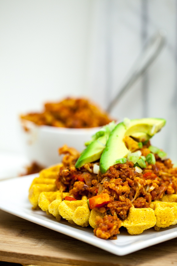 Cheesy Cornbread Waffles with Cauliflower Lentil Sloppy Joes