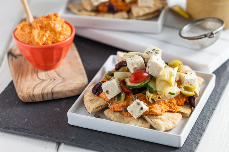 Mediterranean Nachos with Roasted Red Bell Pepper Hummus & Tofu Feta