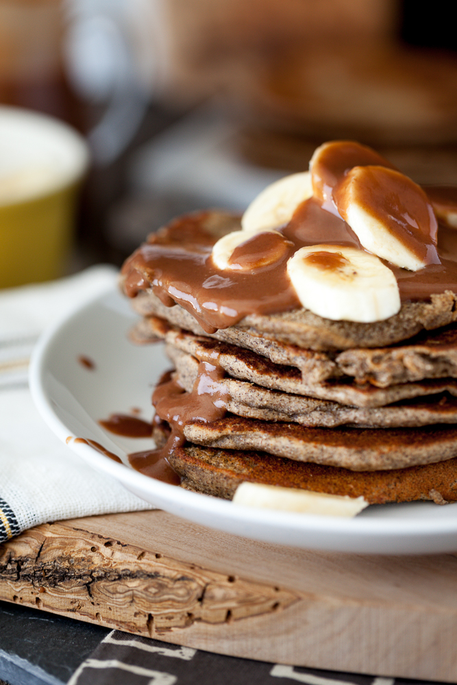 Peanut Butter Banana Pancakes with Salted Chocolate Caramel Syrup