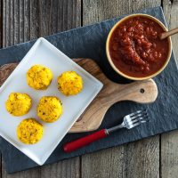 Polenta Cornballs with Spicy Marinara Sauce