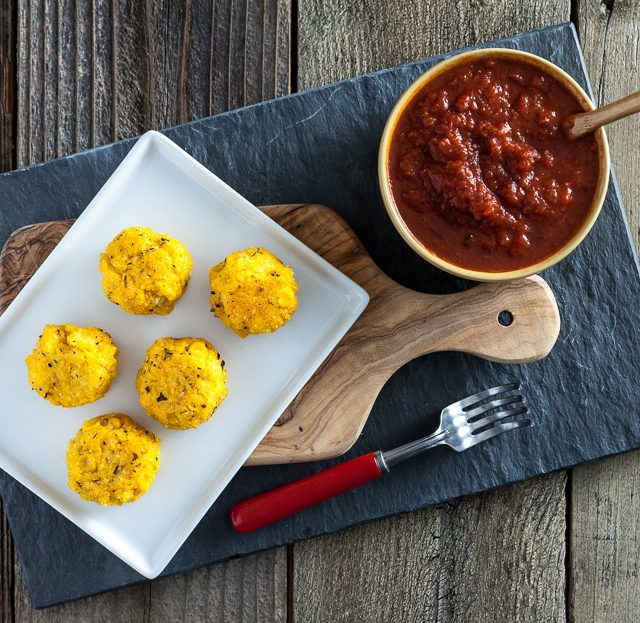 Polenta Cornballs with Spicy Marinara Sauce