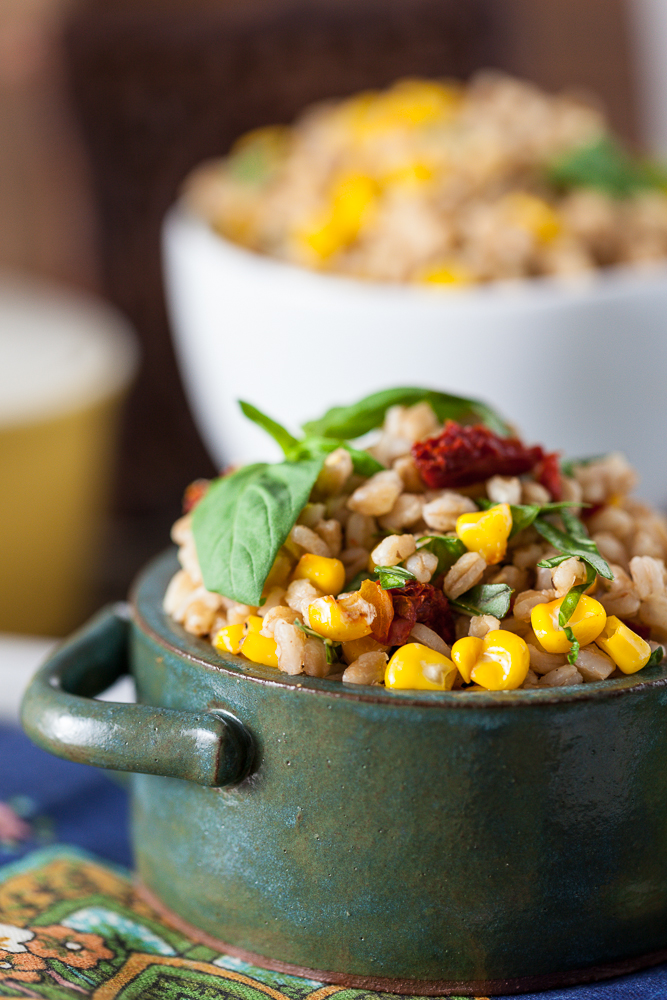 Roasted Corn and Basil Farro Salad