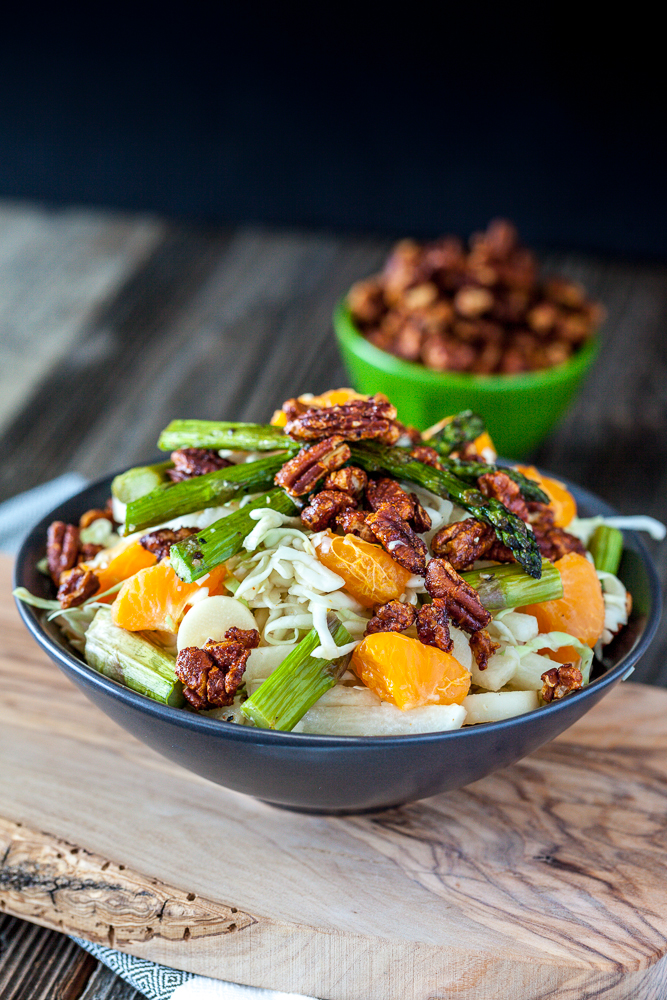 Heart of Palm, Jicama & Asparagus Cabbage Salad with Tangerines & Maple Sriracha Pecans