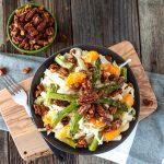 Heart of Palm, Jicama & Asparagus Cabbage Salad with Tangerines & Maple Sriracha Pecans