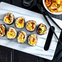 Avocado, Mango & Kimchi Sushi Rolls