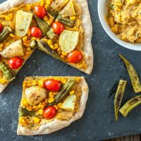 Smoky Sweet Corn Pizza with Roasted Okra & Potato