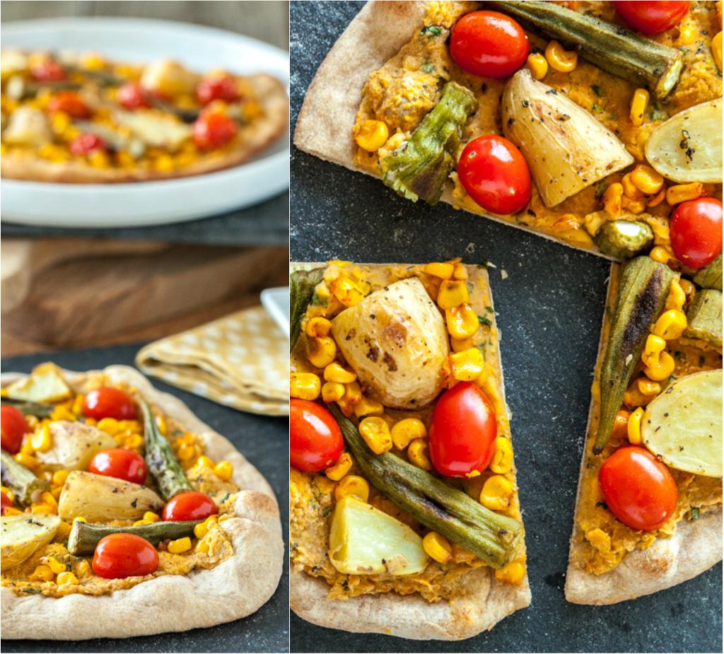 Smoky Sweet Corn Pizza with Roasted Okra & Potato