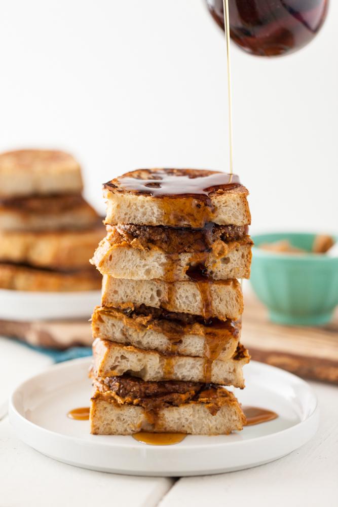Vegan Sausage French Toast Breakfast Sandwich