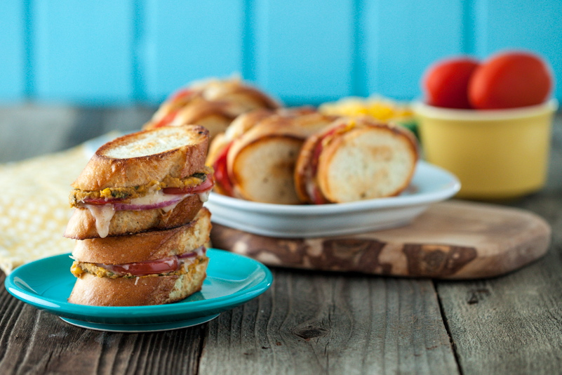 Mini Roasted Corn & White Bean Grilled Cheese Sandwiches with Ancho Chili Cheese Spread