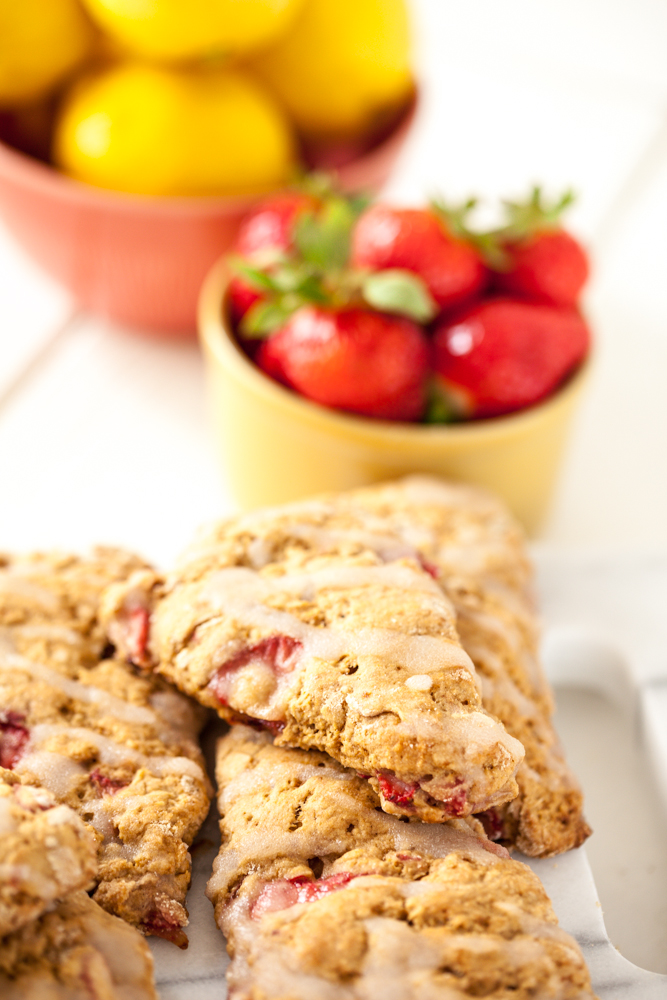 Strawberry Lemon Scones with Lemon Glaze