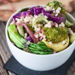 Warm Bok Choy & Roasted Veggie Couscous Salad with Lemon Caper Dressing