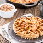 Salted Caramel Pecan Waffles with Cinnamon Apple Topping