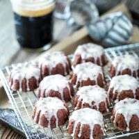 Mini Chocolate Stout Bundt Cakes with Maple Cream Glaze