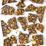 Vegan Salted Dark Chocolate Maple Bacon Bark