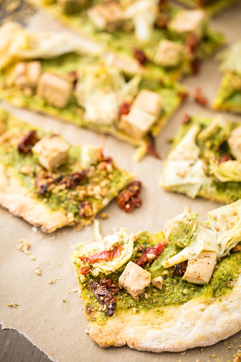 Vegan Chicken & Artichoke Pesto Pizza
