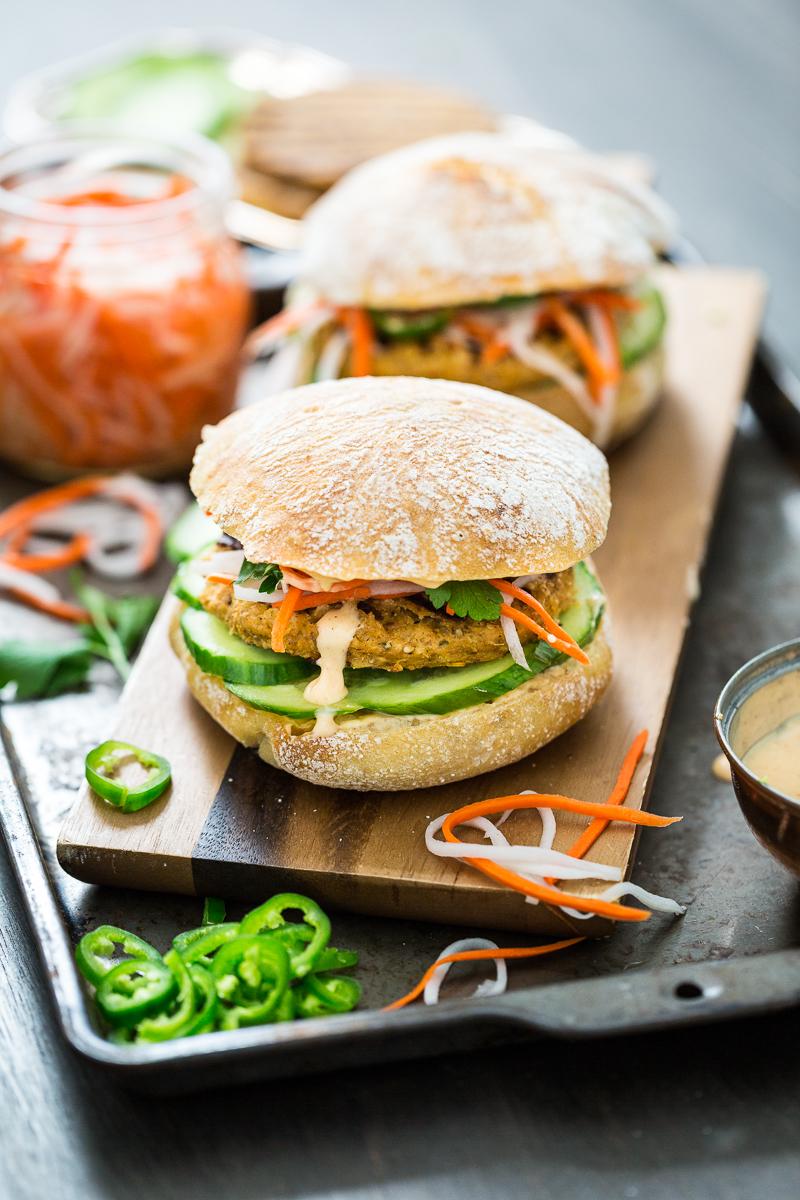 Lemongrass Tofu Banh Mi Burger with Sriracha Aioli