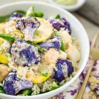 Spring Veggie Bowl with Jade Pearl Rice, Kohlrabi, & Coconut Tahini Sauce