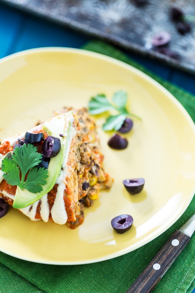 Vegan Stacked Enchilada Pie
