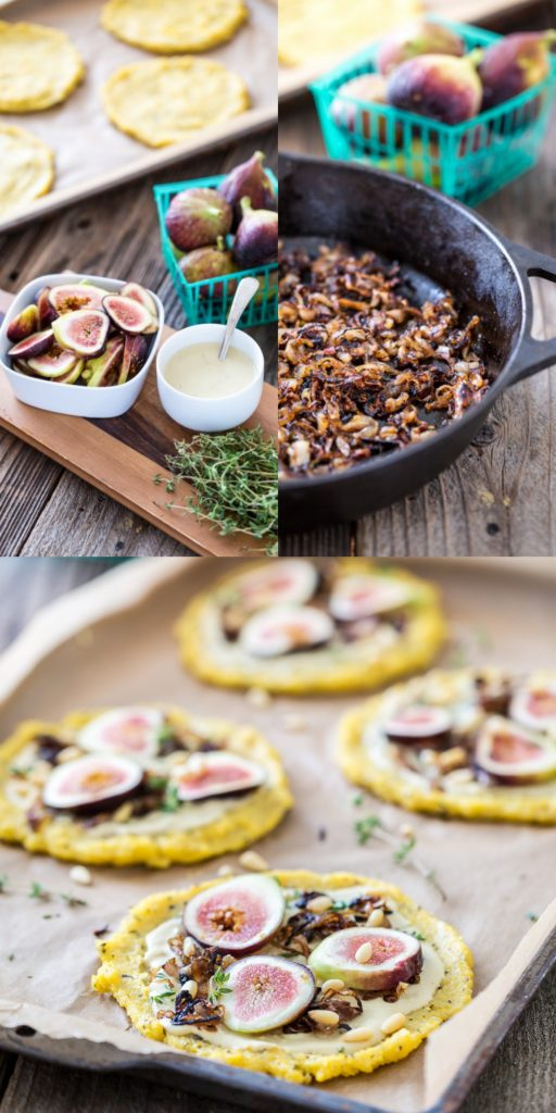 Caramelized Shallot & Fig Polenta Pizzas with Thyme & Pine Nuts