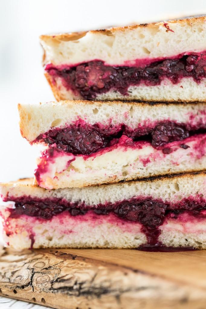 Vegan Lemon-Lavender Blackberry & Ricotta Grilled Cheese Sandwiches