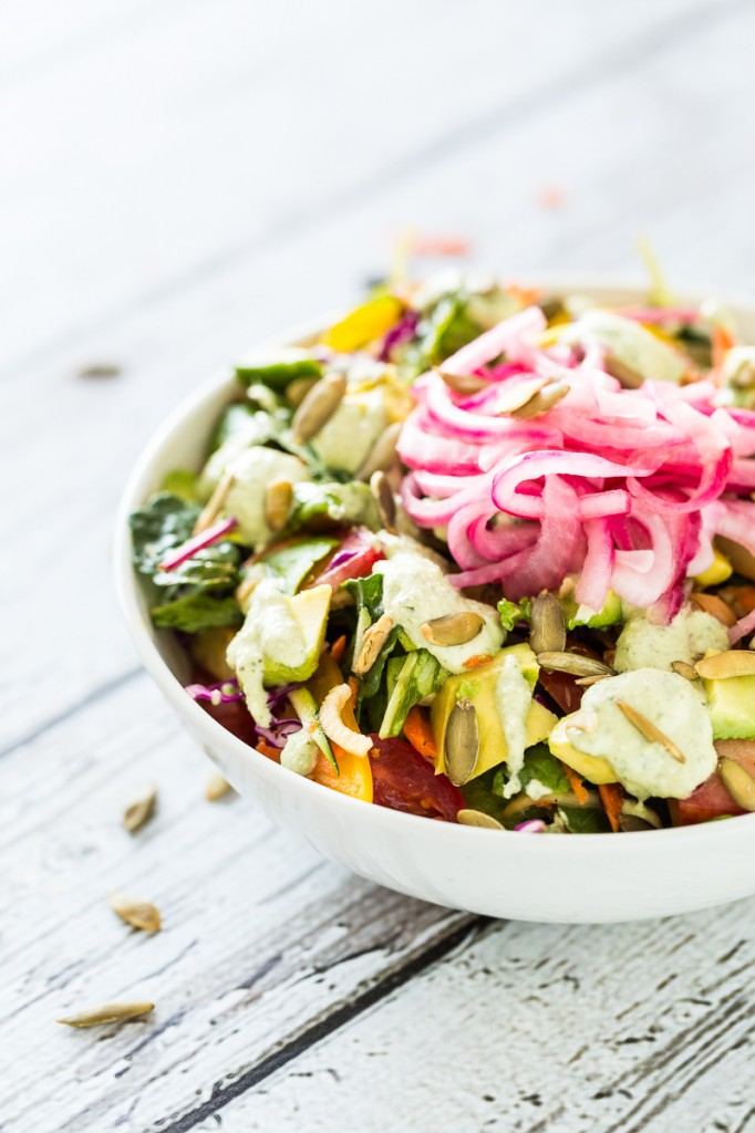 The Big-Ass Salad with Basil Ranch Dressing & Pickled Red Onions