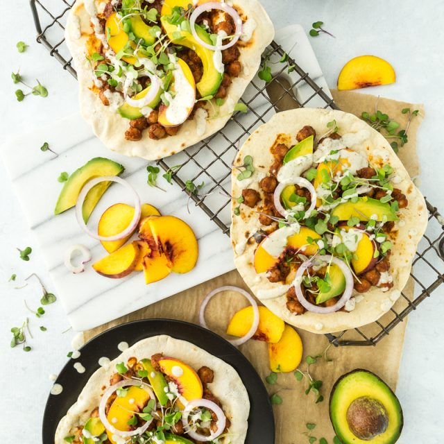 BBQ Chickpea Flatbread Pizzas with Jalapeño Plum BBQ Sauce