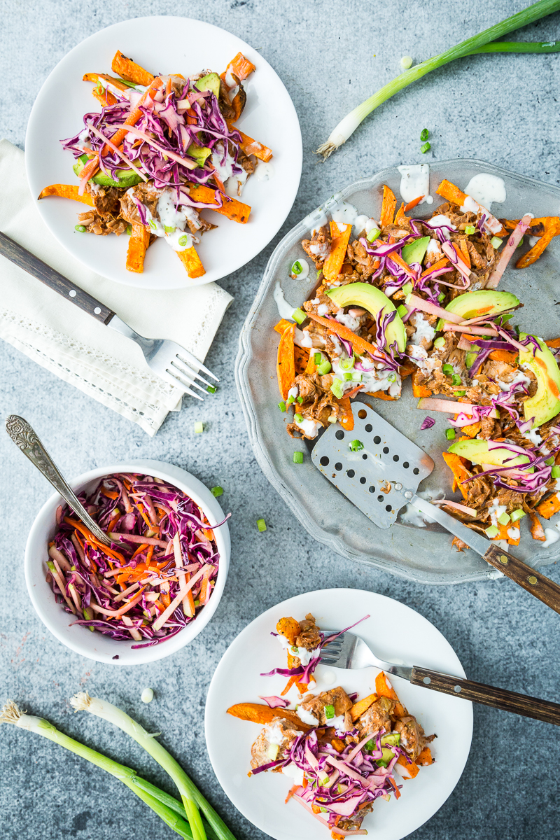 Loaded Sweet Potato Fries with BBQ Jackfruit & Red Cabbage Apple Slaw