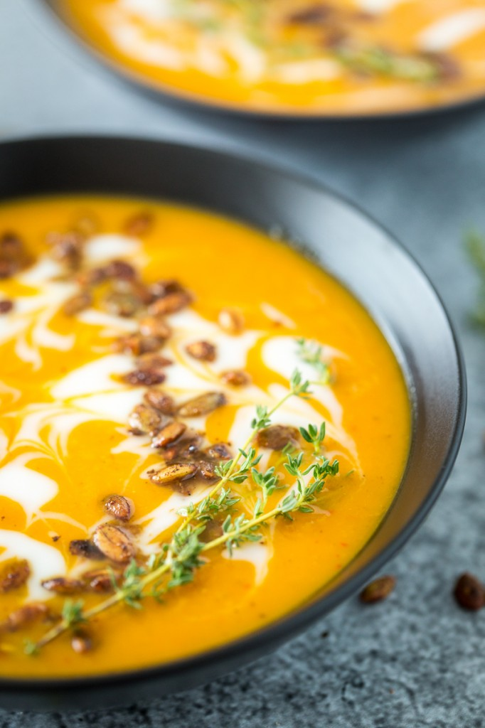 Harissa-Roasted Butternut Squash Soup with Spicy Toasted Pepitas