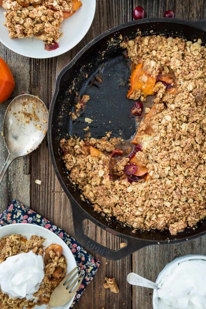 Cranberry Persimmon Crisp with Vanilla Bean Topping