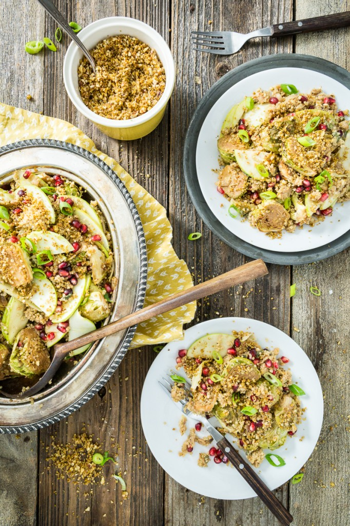 Roasted Brussels Sprouts & Quinoa Salad with Tempeh Bacon Bits