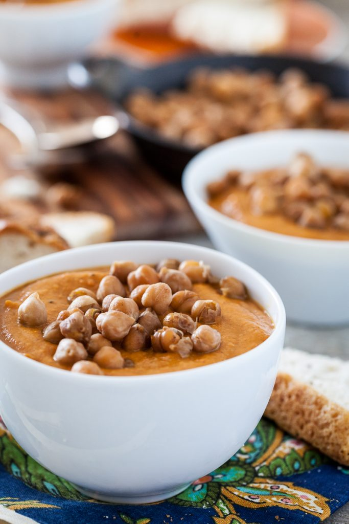 Spicy Almond Carrot Soup with Skillet-Roasted Chickpeas