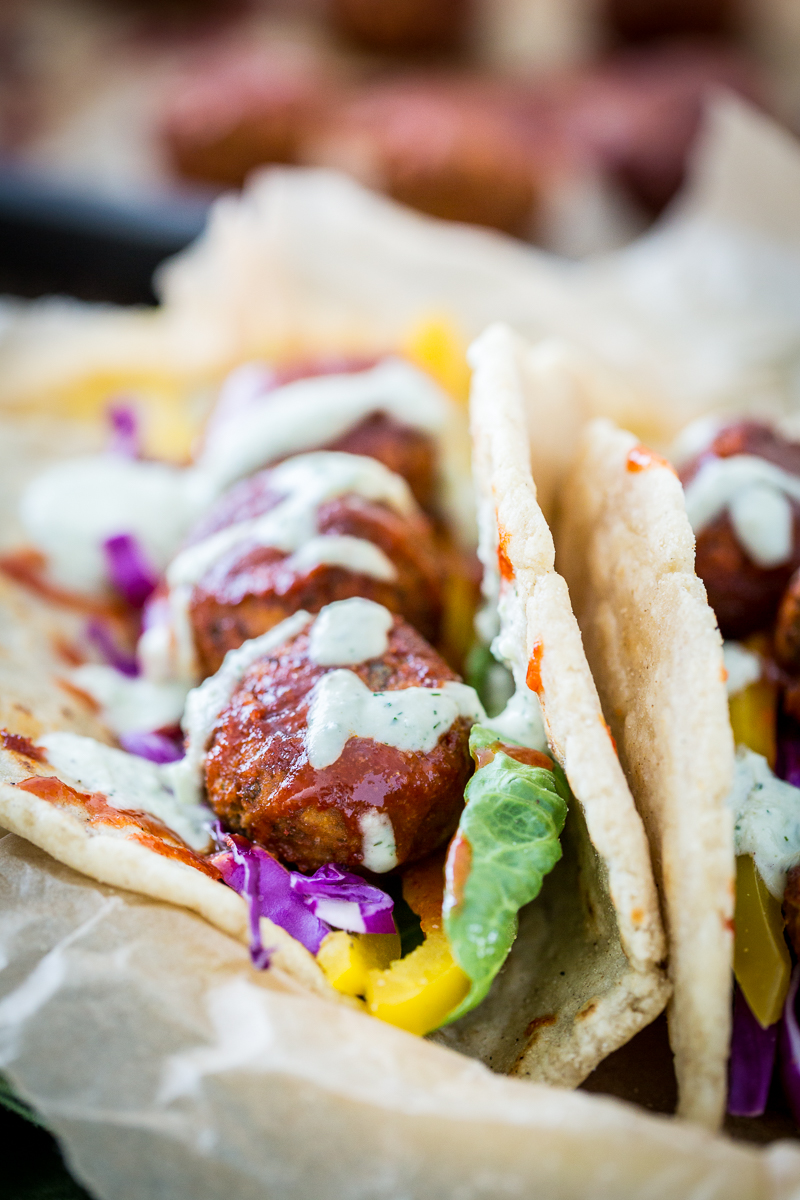 Buffalo Falafel with Vegan Tzatziki Ranch Sauce