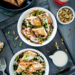 Orange Ginger Pan-Fried Tofu Bowl with Yogurt Tahini Sauce + A GIVEAWAY!