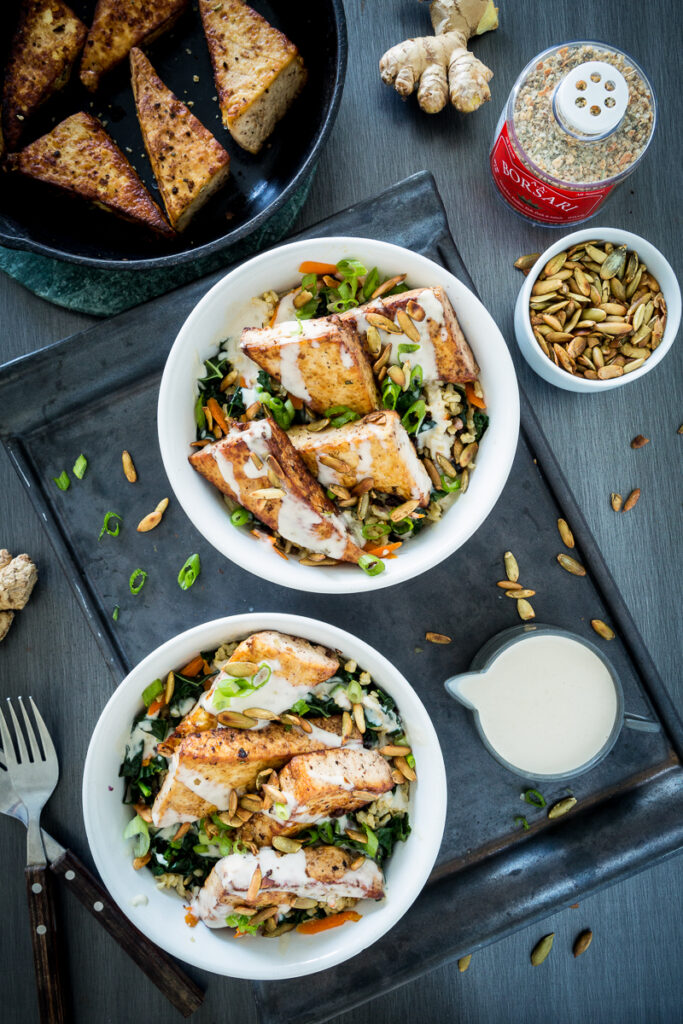 Orange Ginger Pan-Fried Tofu Bowl with Yogurt Tahini Sauce