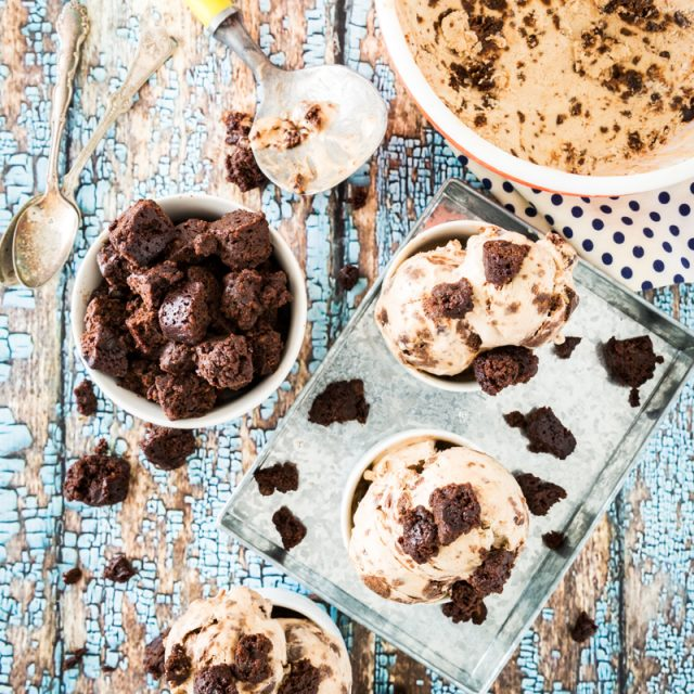 Vegan Peanut Butter-Caramel-Brownie Chunk Ice Cream