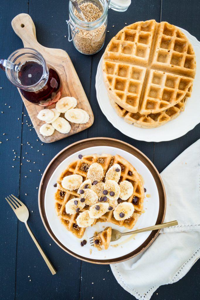 Crisp Miso Tahini Waffles, Two Ways