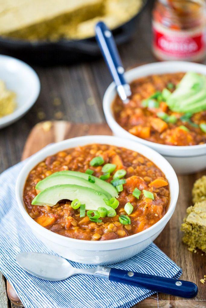 Harrisa Sweet Potato & Lentil Chili