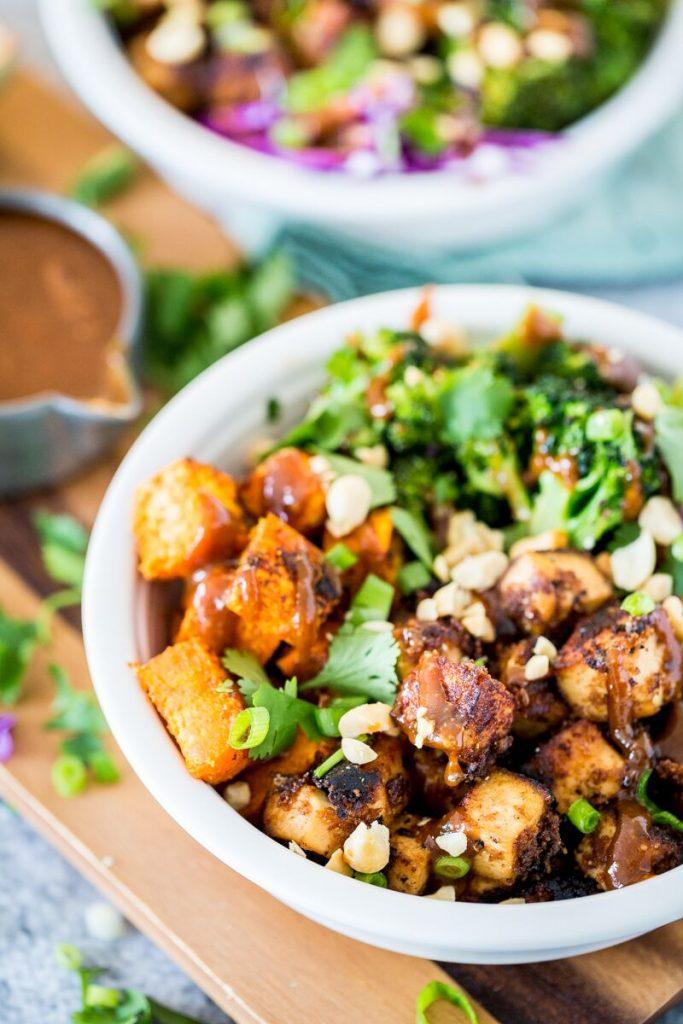 Thai Peanut Tofu & Sweet Potato Bowl