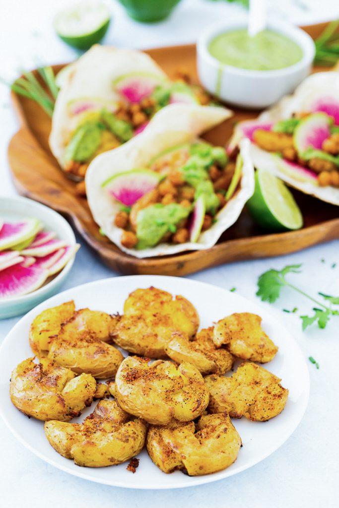 Chile-Roasted Smashed Potato Tacos with Cilantro-Avocado Sauce