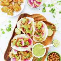 Chile-Roasted Smashed Potato Tacos with Cilantro-Avocado Sauce